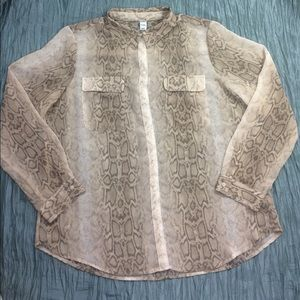 Sheer snakeskin print long sleeve button down top