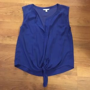 Royal blue front tie tank top