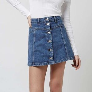 Topshop Moto Button-Up Denim Skirt