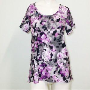 LulaRoe Gray & Purple Floral Classic T!