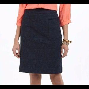 Anthropologie navy brocade skirt