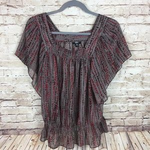 Mossimo flutter sleeve shirt sleeve sheer blouse
