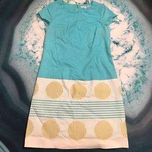 Boden Sea Blue 100% Cotton Shift Sheath Dress 8R