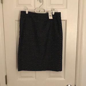 JCrew Factory Skirt- Navy w/polka dots
