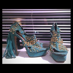 Jeffrey Campbell tassel fringe studded heels