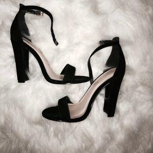 Black Ankle Strap Block Heel