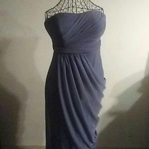 Grey strapless special occasion dress
