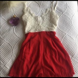 Pants - Cute red and white lace romper