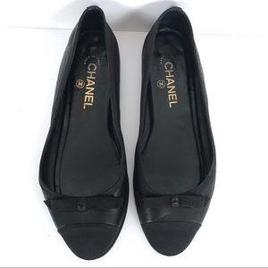 100% Auth Chanel flats Sz 39 9 shoes black
