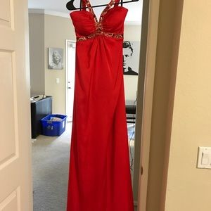 Red satin dress with matching bow tie