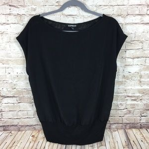 Express sleeveless black blouse with back lace