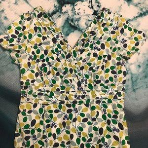 Boden Leaf Blossom Printed Fit & Flare Dress 8L