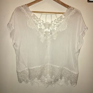 NWOT white lace crop top