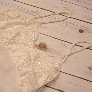 Pretty vintage lace and pearl strap cami