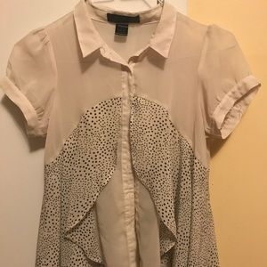 Blouse white with black polka dots