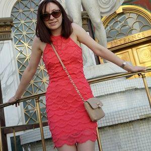 Guess hot pink lace dress XS