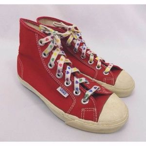 Vans Vtg Early 80s Red High Top Canvas Sneakers
