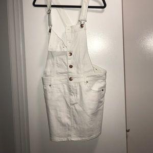 White denim overall dress
