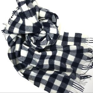 New J. Crew Navy and White Wool Plaid Scarf