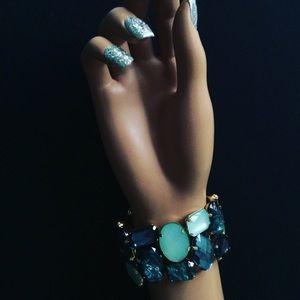 Gold Blue Jeweled Rhinestone Statement Bracelet