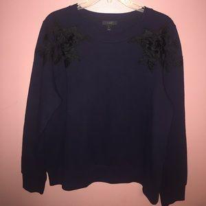 NWOT. J Crew Sweater. Navy with black appliqué