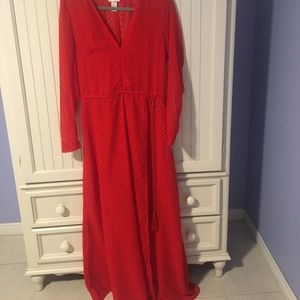 Sheer Long Red Dress