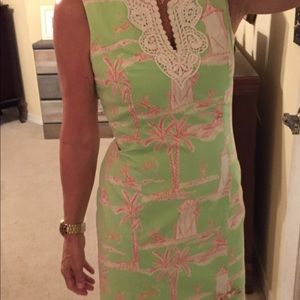 Lilly Pulitzer lime green print shift dress