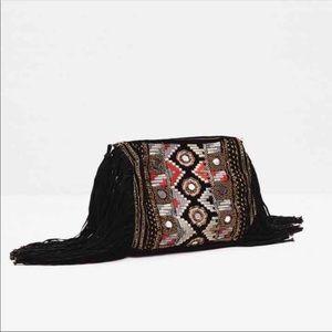 Zara Embroidered Fringe Bag. NWT.