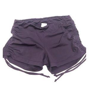 Purple side tie shorts