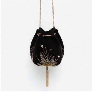 Zara Velvet Evening Bucket bag. NWT