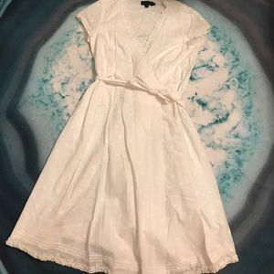 Boden Polka Dot White Fit & Flare Wrap Dress 12R