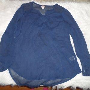 Mossimo Dark blue see through blouse