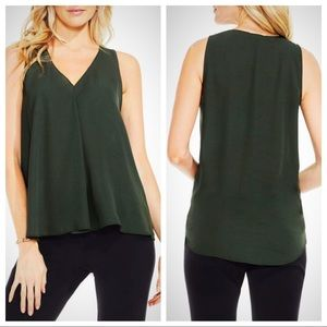 Vince Camuto Forest Green V Neck Blouse S
