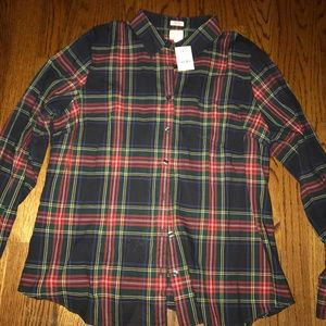 J Crew Perfect Fit Plaid Button up