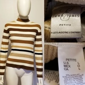 EMMA JAMES Liz Claiborne Creme and Brown sweater