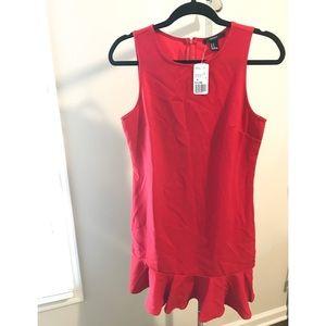 Red Drop-waist Sleeveless Shift Dress