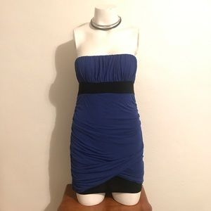 Forever 21 black and blue strapless dress