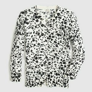 J. Crew Factory Clare Cardigan Black and Ivory Med