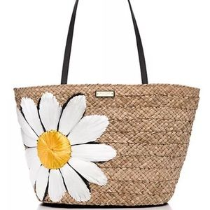 Kate Spade daisy straw tote down the rabbit hole