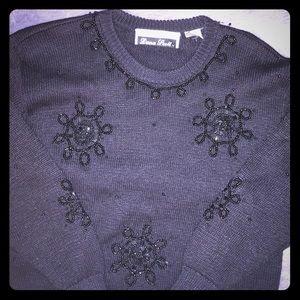 Vintage Dana Scott black sweater with beading.