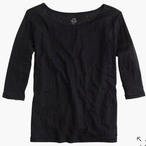 J. Crew black Linen boatneck T-shirt