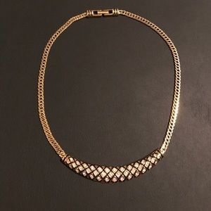 Vintage Swarovski Black Enamel & Crystal Necklace