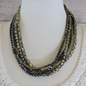 Silpada 5 Strand Hematite & Silver Necklace.
