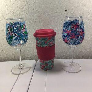LILLY PULITZER WINE GLASS AND TRAVEL MUG COMBO