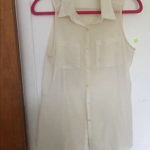 Sheer , button down creamish white blouse