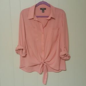 Coral button front blouse