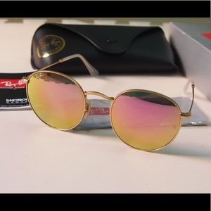 Rose gold mirror RB 3447 round sunglasses