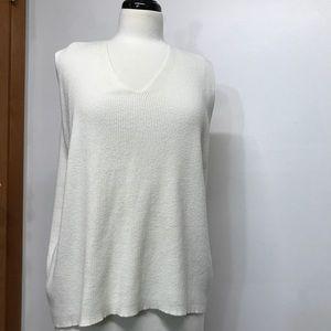 Emma James Woman Cream Knit Sleeveless Top