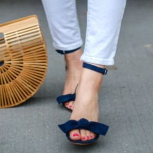 Ann Taylor - Suede Bow Sandals in Navy & Grey