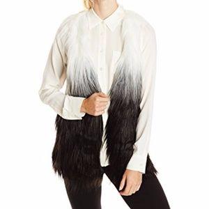 KENSIE Women Faux Fur Vest Black White Ombre XL 1X